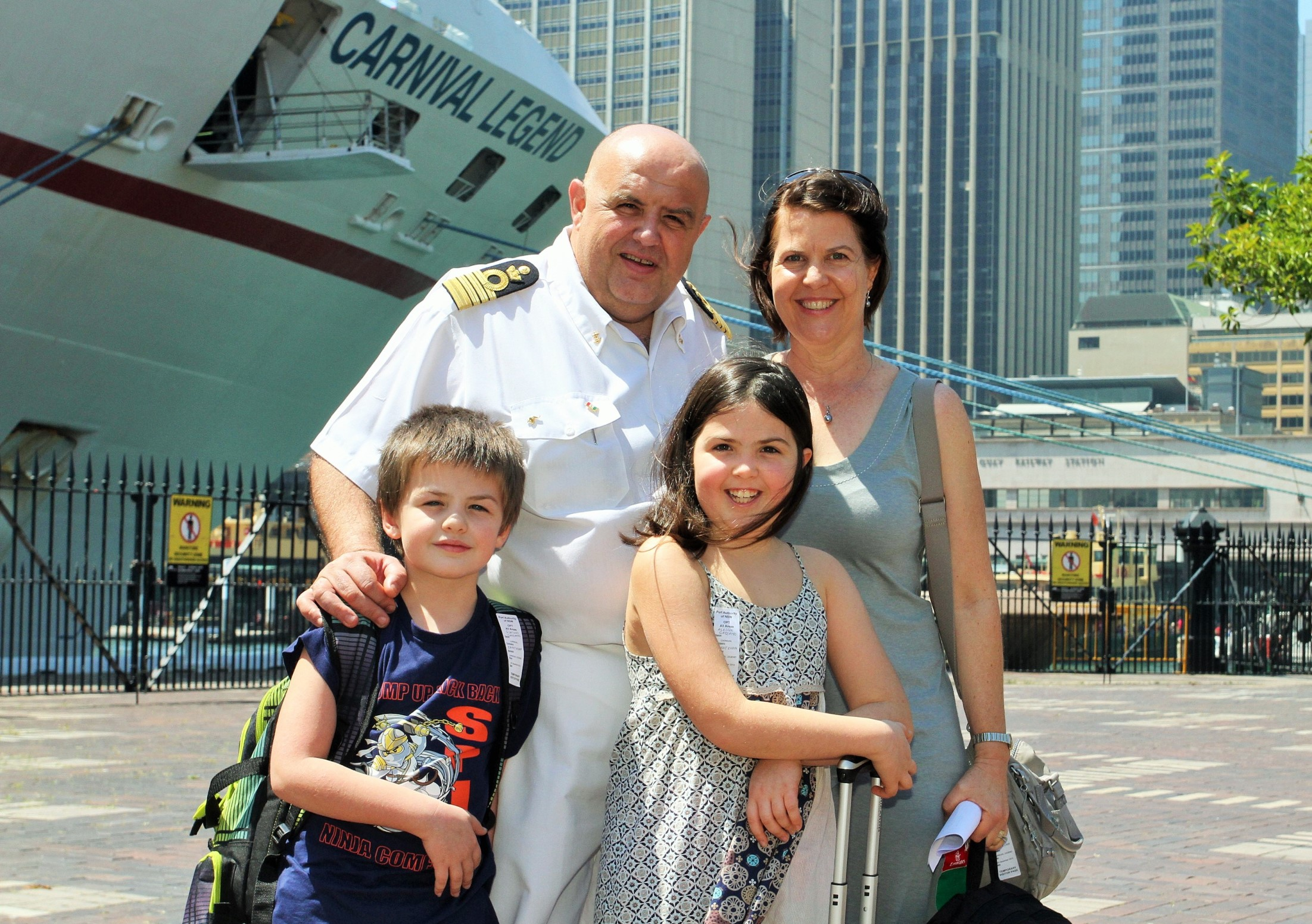 Carnival Legend Captain Guiseppe Gazzano with wife Anne Louise and children Giacomo and Alessia 9