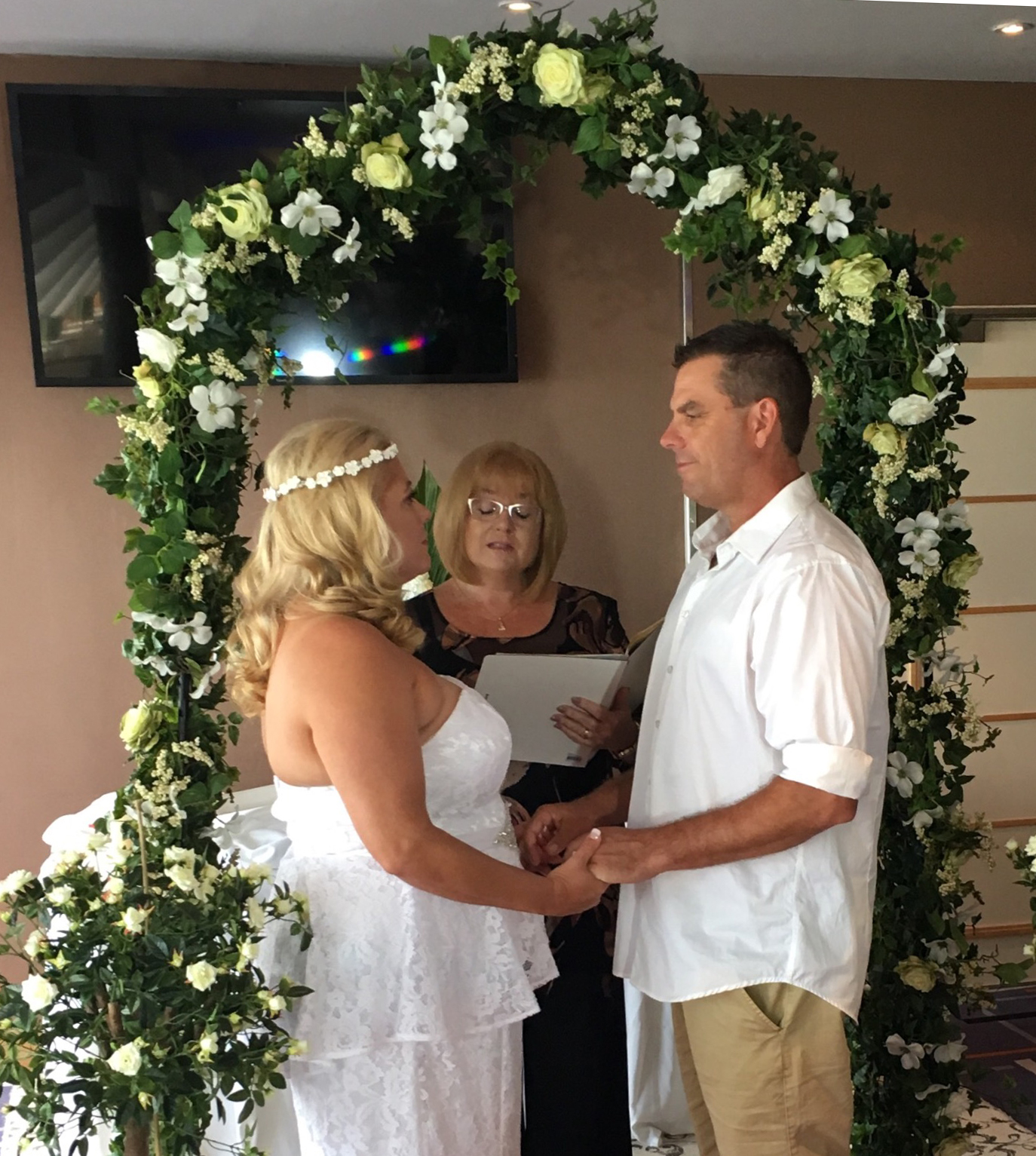 Matthew Moore and Christine Drennan getting married on Pacific Jewel