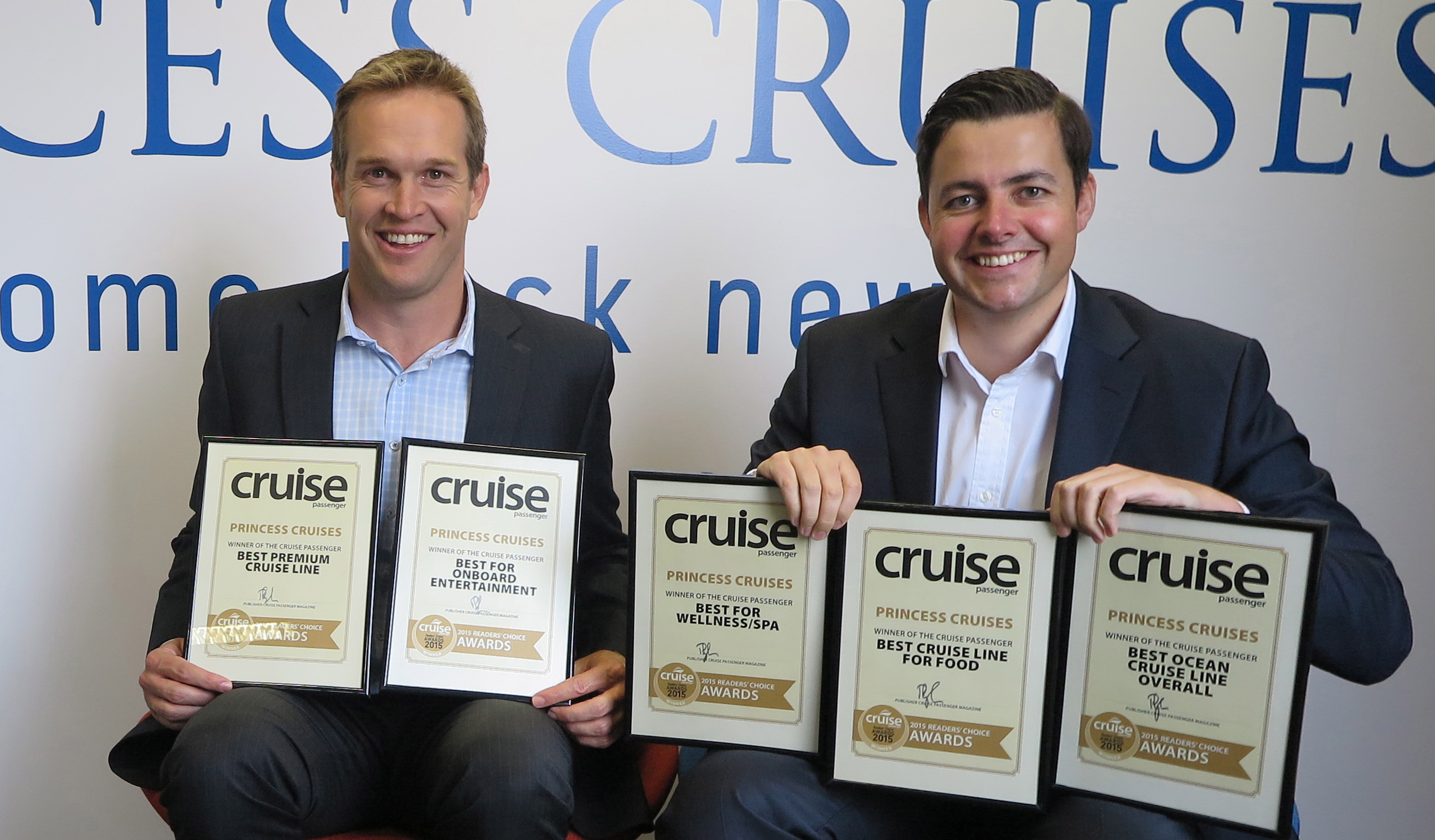 Princess Cruises Marketing Manager Nick Ferguson l and VP Australia New Zealand Stuart Allison r