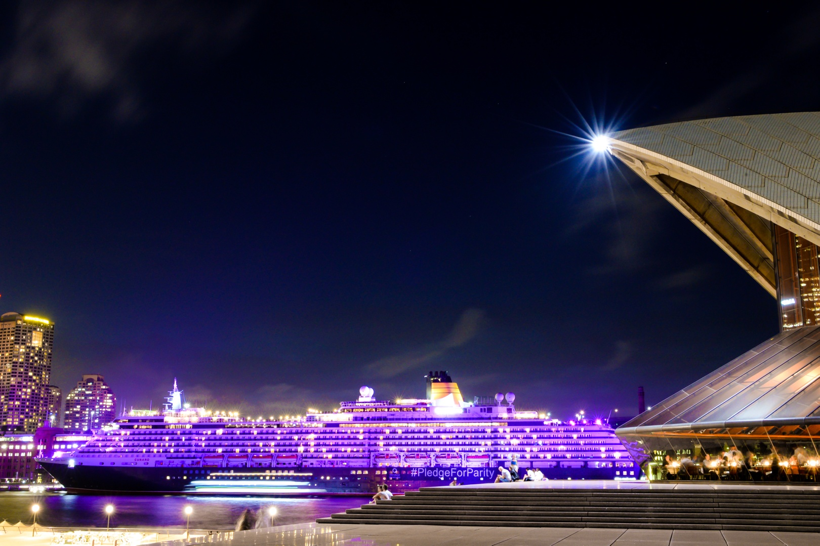 Queen Victoria illuminated purple in Sydney for International Womens Day March 8 2016 Credit James Morgan