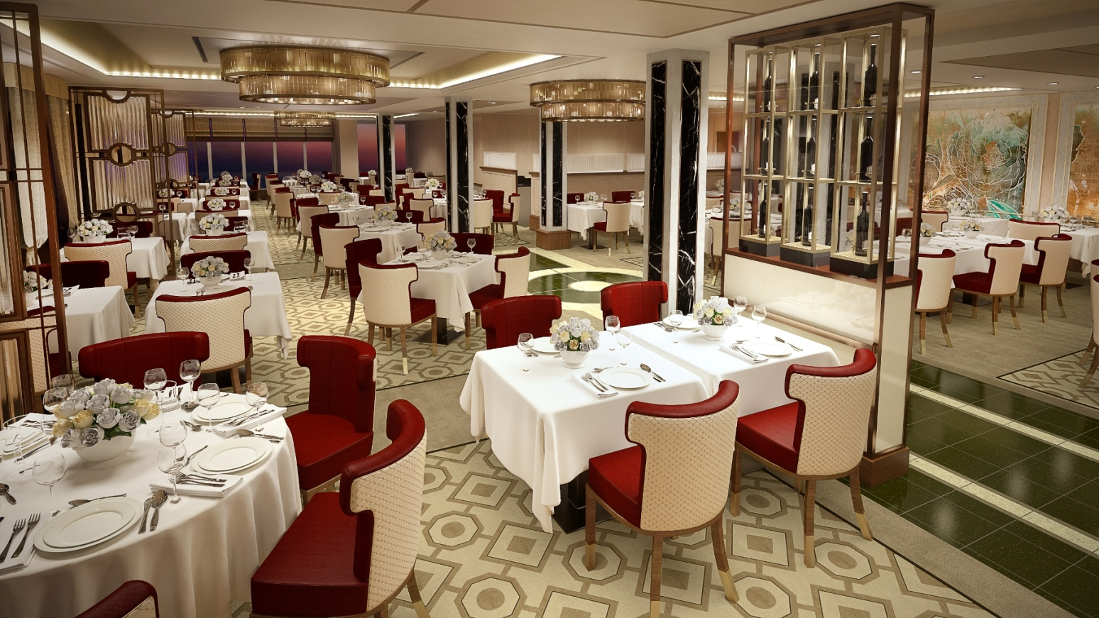 Queens Grill Restaurant Queen Mary 2 Render