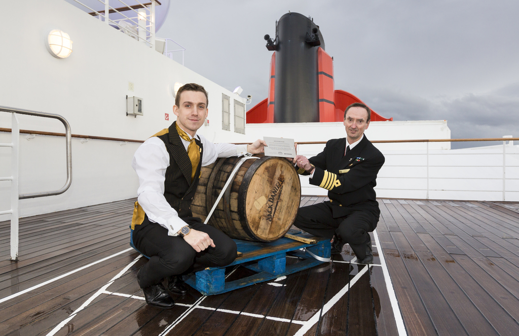 The Savoys Beaufort Bartender Neil Donachie and Queen Mary 2 Captain Wells Inspect the Latest Cargo